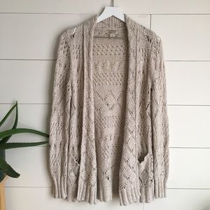 Lucky Brand Cardigan knit sweater crocheted LUCKY